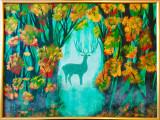 "Tablou pictura cerb natura ""Padurea de aur"", Acrilic, Realism"