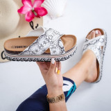 Papuci Marata albi cu print snake -rl