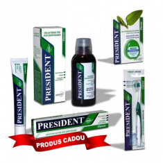 Pachet Promo igiena orala President Classic: Gratuit pasta de dinti 50ml + Apa de gura fara Alcool cu Salvie, Musetel, Melissa, Xylitol 250ml + Periu