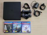(PS4) SONY PlayStation 4 Slim 1TB, 2 manete, stație de încărcare, 3 jocuri