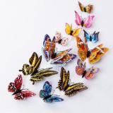 Set 12 fluturasi multicolori  3D cu magnet si aripioare duble