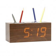 Ceas digital LED, de birou, senzor sunet, alarma, temperatura, suport pixuri