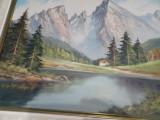 Tablou superb ulei pe panza--Cabana la munte, Natura, Realism
