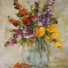Pictură `Flori în vas de sticlă`