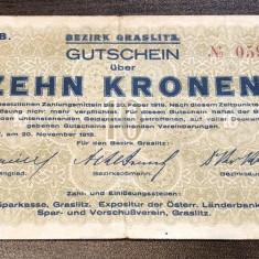 P-N Cehoslovacia - 10 Korun 1918 VF Graslitz NOTGELD