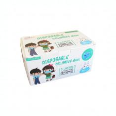 Masca de protectie pentru copii, 3 pliuri, 50 bucati/cutie, model pentru fete
