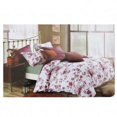 Lenjerie pat dublă, bumbac satinat, 4 piese, model floral alb
