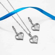 Set de bijuterii: lantisor + cercei, placate cu argint 925