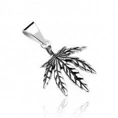Pandantiv argint - frunză marijuana