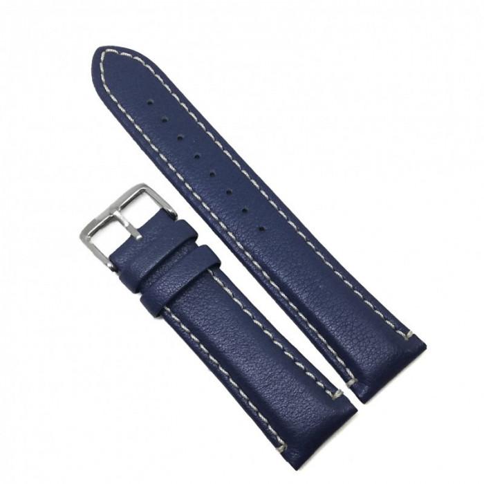 Curea de ceas din Piele Naturala - Culoare Albastra, textura mata - 22mm - GR3876