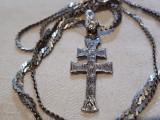 MEDALION argint CRUCE CRUCIFIX rar VECHI finut SPLENDID de efect pe Lant argint