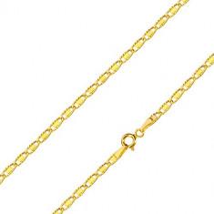 Lanț din aur galben 14K - zale ovale cu tăieturi și dreptunghi neted, 500 mm