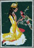 Fata cu papagal// felicitare realizata manual, tempera pe hartie, Necirculata, Printata