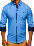 Cămașă elegantă pentru bărbat cu mâneca lungă albastră-deschis Bolf 7720, Maneca lunga