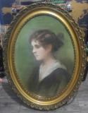 Portret domnisoara// pastel pe hartie, nesemnat, dimensiuni generoase, Marine, Acuarela, Altul