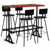 VidaXL Set mobilier de bar, 5 piese, multicolor, lemn masiv reciclat