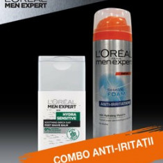 Set cadou Spuma de ras L Oreal Paris Men Expert Anti-iritatii 200 ml + Balsam dupa ras L Oreal Paris Men Expert Hydra-Sensitive 125ml