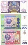 Bancnota Uzbekistan 100, 200 si 500 Sum 1994-99 - P79-81 UNC