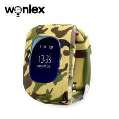 Ceas Smartwatch Pentru Copii Wonlex Q50 cu Functie Telefon, Localizare GPS - Camuflaj Galben, Cartela SIM Cadou