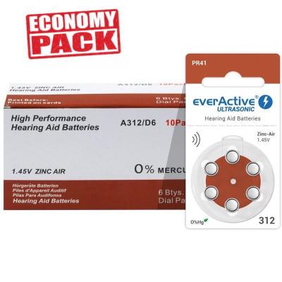 Baterii EverActive 312 pentru aparate auditive Economy Pack 60 baterii foto