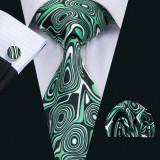 Set cravata + batista + butoni matase naturala model verde 1295