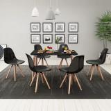 243551 vidaXL Set masă și scaune de bucătărie, negru, 7 piese