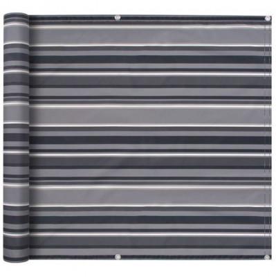 Prelată pentru balcon, material Oxford, 75x600 cm, dungi gri foto