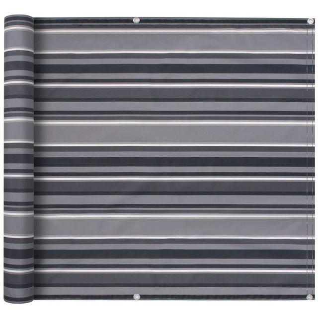 Prelată pentru balcon, material Oxford, 75x600 cm, dungi gri