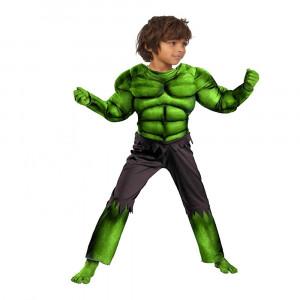 Costum carnaval Hulk cu muschi pentru copii War 110 120 cm 5 7 ani