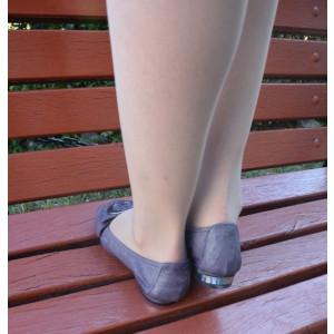 Balerin mov din piele, fixare cu insertie de elastic jur-imprejur