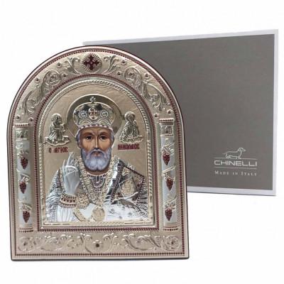 Icoana Sf. Nicolae placata cu aur si argint by Chinelli - Made in Italy foto
