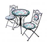 Set 2 scaune si masa din mozaic cu cadru de fier, pliabile, ceramica