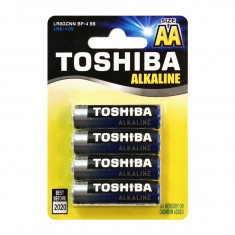 Set 4 baterii TOSHIBA 1.5V AA, Alcaline