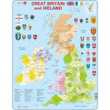 Cumpara ieftin Puzzle Harta Politica a Marii Britanii si a Irlandei (EN), 48 piese Larsen LRK18 B39016693