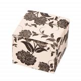 Cutie de cadou pentru cercei - flori negre pe fundal bej