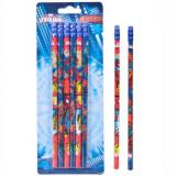 Set 6 creioane, model Spiderman, cu radiera, Creioane grafit
