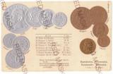 1979 - King CAROL I, Romanian Coins, Flag - old postcard, embossed - unused