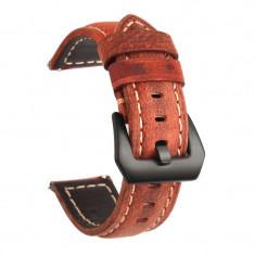 Curea piele naturala, compatibila Huawei Watch GT, telescoape Quick Release, 22mm, Maro Aprins