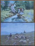 4 carti postale interbelice , costume populare romanesti , peisaj campenesc , 1