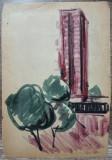 Peisaj citadin// studiu Ion Taralunga, acuarela pe hartie, Peisaje, Avangardism