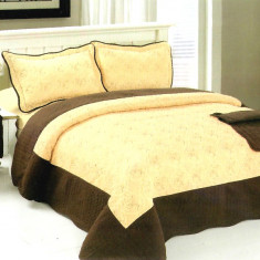 Cuvertura de pat + 2 Fete de Perne - Pat 2 Persoane - 100% Bumbac Brodat - W-002