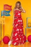 Rochie SunShine rosie lunga din voal cu imprimeu floral cu elastic in talie se leaga dupa gat