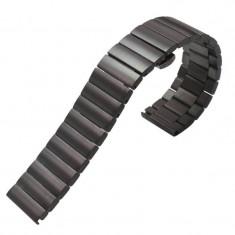 Curea metalica compatibila Huawei Watch GT, telescoape Quick Release, 17cm, Negru