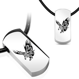 Pandantiv din oțel inoxidabil pe șnur din piele - vultur