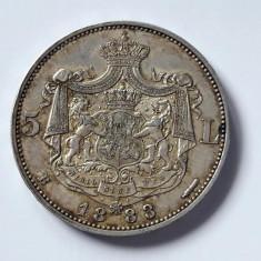 ROMANIA 5 Lei 1883. Argint . Superba piesa de colectie! Necurata cu patina. AUNC