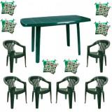 Set mobilier gradina masa demontabila MUTUM cu 6 scaune Jokei culoare verde,6 Pernute scaun B001045 Raki