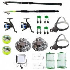 Set pescuit cu lanseta 2,4m si 3,6m doua mulinete, proiector solar si accesorii