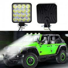 Proiector LED auto offroad 48W, 16 LED-uri halogen, 10-30V, carcasa aluminiu, IP67