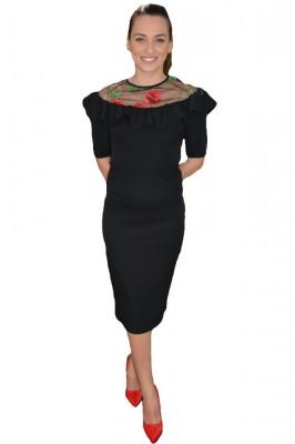 Bluza eleganta cu talie scurta, neagra, cu insertie de tul brodat foto