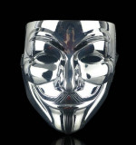 Masca Guy Fawkes / V for Vendetta - Anonymous plastic argintie, Masura unica, Argintiu
